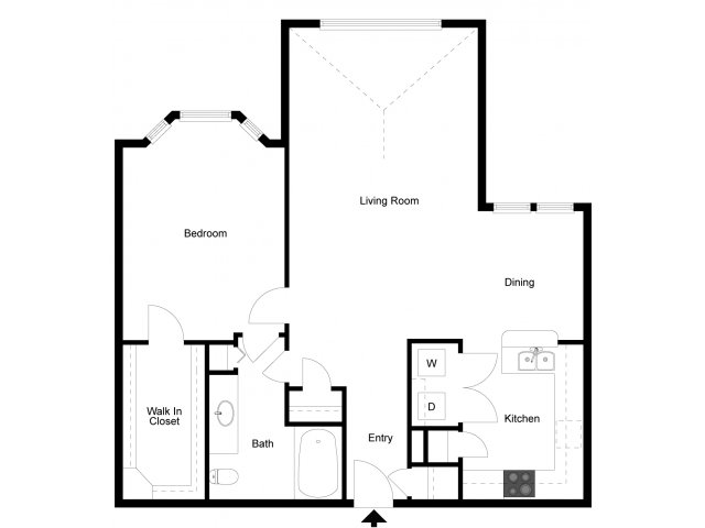 891 sq. ft. A5 floor plan