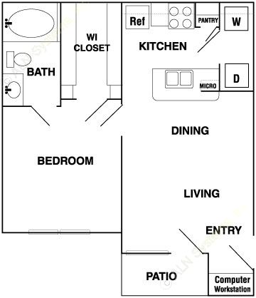 573 sq. ft. to 579 sq. ft. A floor plan