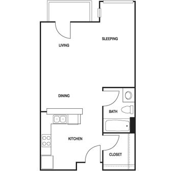 556 sq. ft. to 663 sq. ft. EFF floor plan