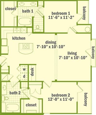 1,197 sq. ft. B2 floor plan