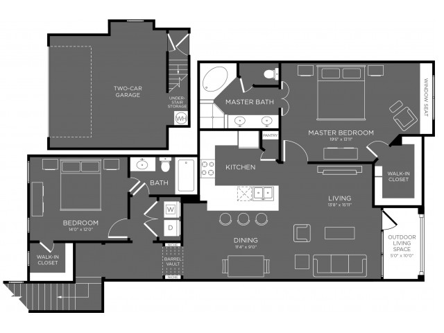 1,387 sq. ft. Seqouia floor plan