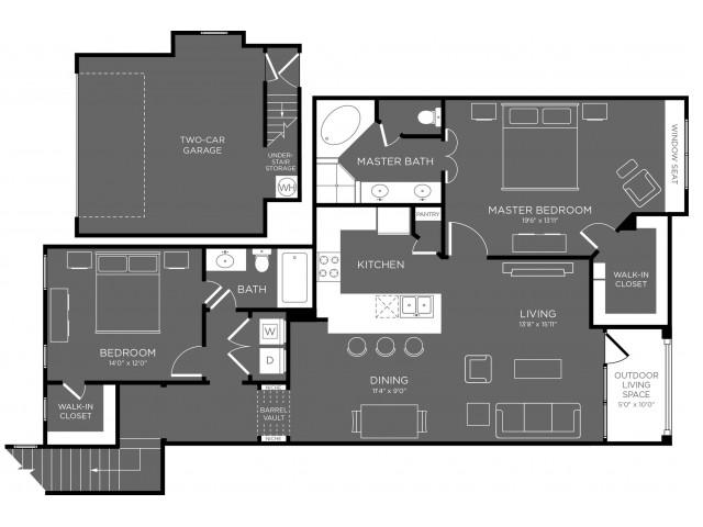 1,387 sq. ft. Seqouia floor plan
