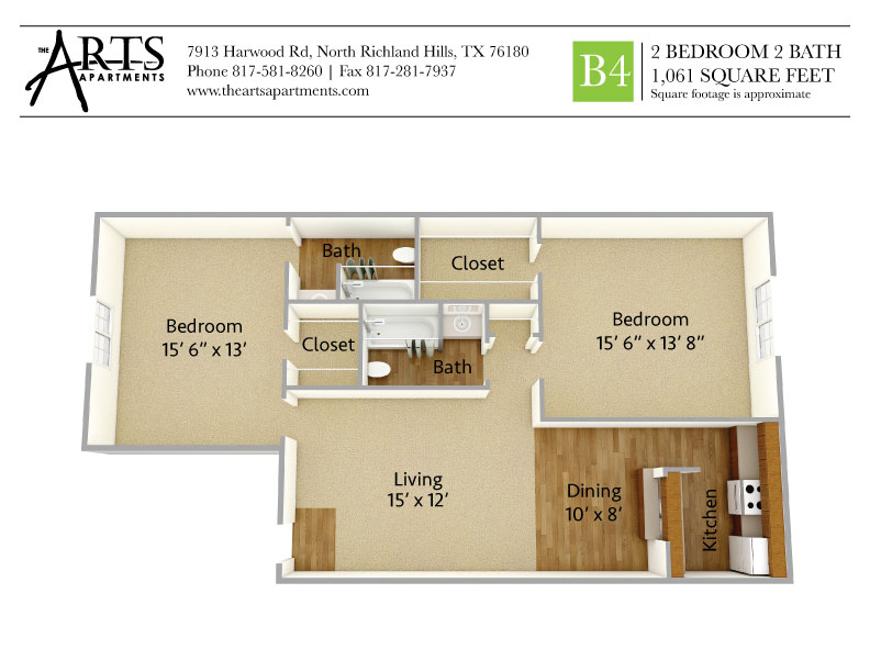 1,061 sq. ft. B4 floor plan