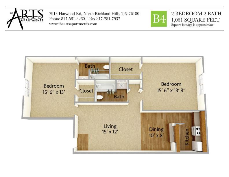 1,061 sq. ft. B4 floor plan