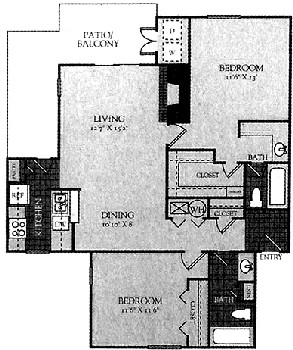 1,080 sq. ft. Mkt floor plan