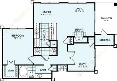 914 sq. ft. A4L floor plan