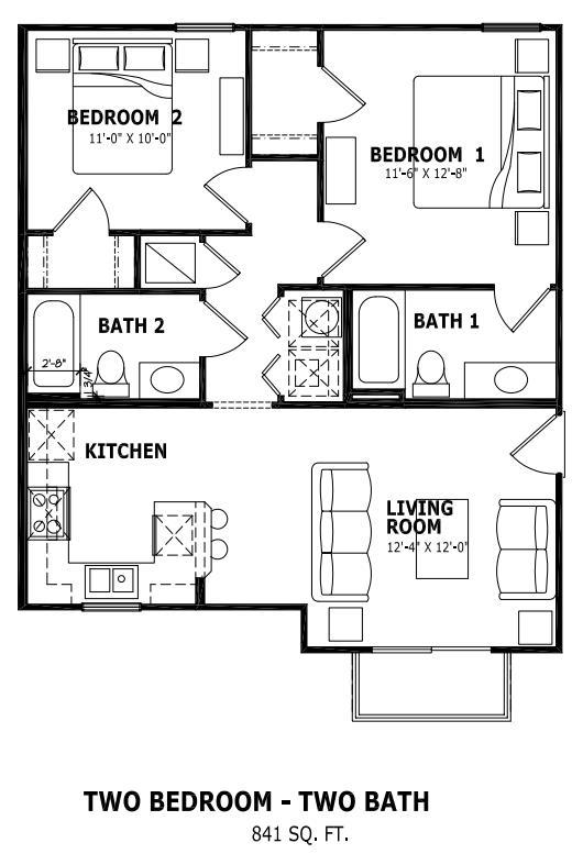 841 sq. ft. floor plan