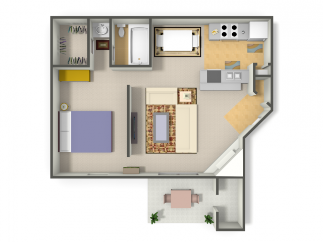654 sq. ft. Studio   (A1) floor plan