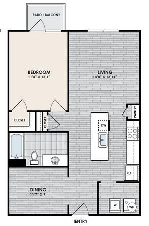 816 sq. ft. A7 floor plan