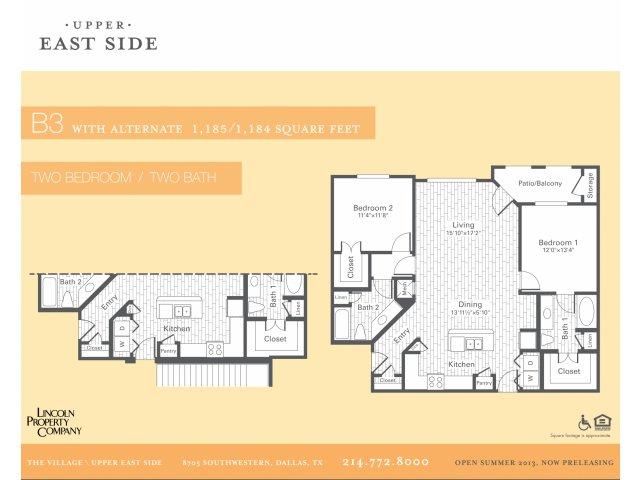 1,190 sq. ft. B3/Acess floor plan