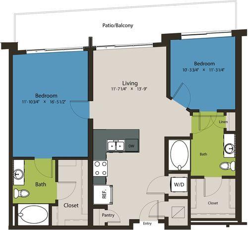 1,036 sq. ft. B11-A floor plan