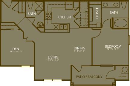 1,025 sq. ft. Pinehurst floor plan