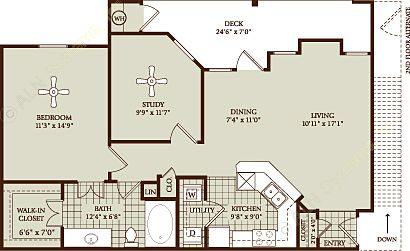 914 sq. ft. A3 floor plan