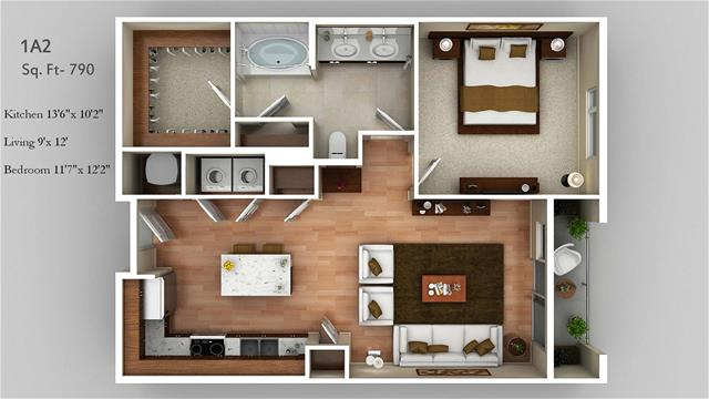 790 sq. ft. 1A2 floor plan