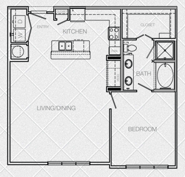 966 sq. ft. A5B floor plan