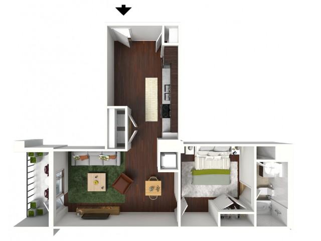743 sq. ft. Midnight floor plan