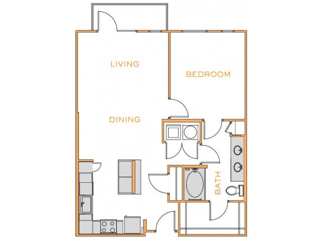875 sq. ft. D3 floor plan