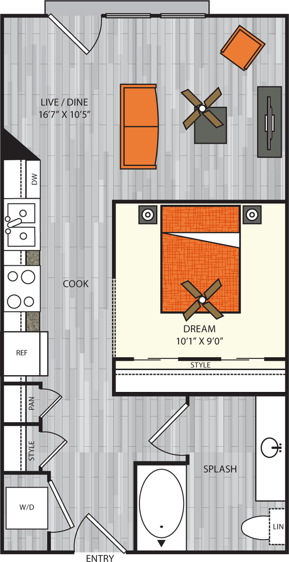 558 sq. ft. S2 floor plan