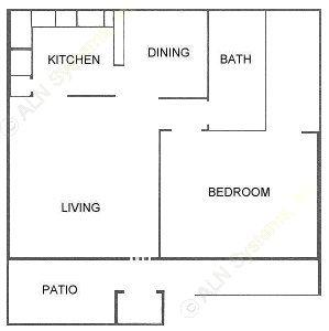 788 sq. ft. B floor plan