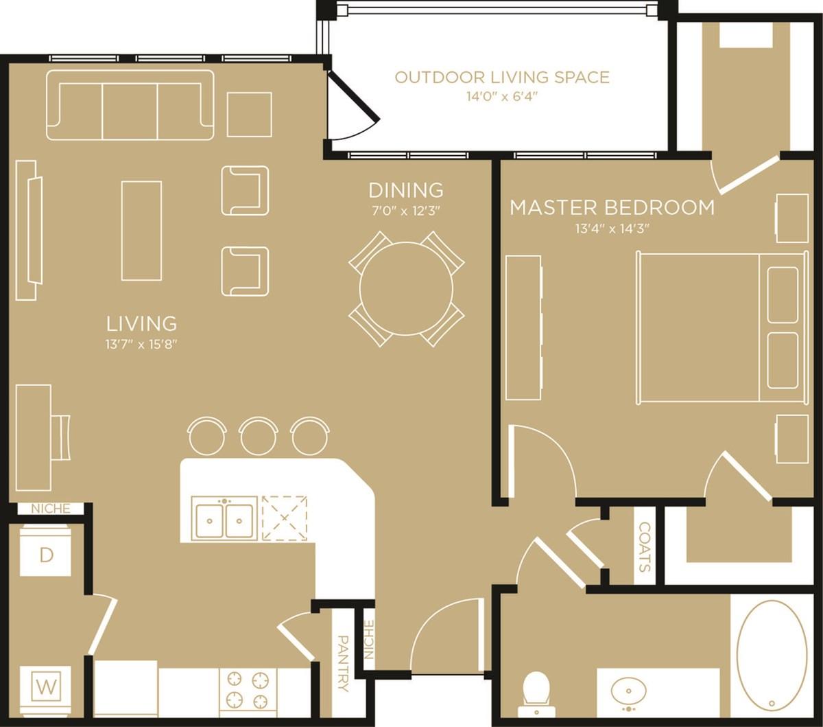 883 sq. ft. Haven floor plan