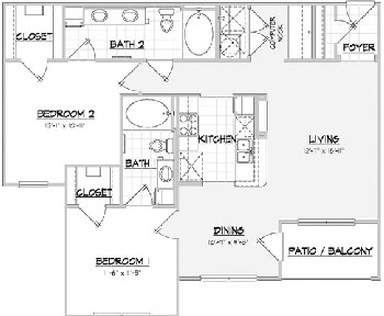 1,101 sq. ft. SANTA FE floor plan