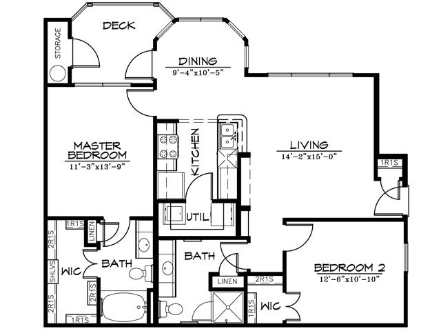 1,036 sq. ft. B2AR floor plan