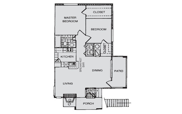 912 sq. ft. B floor plan