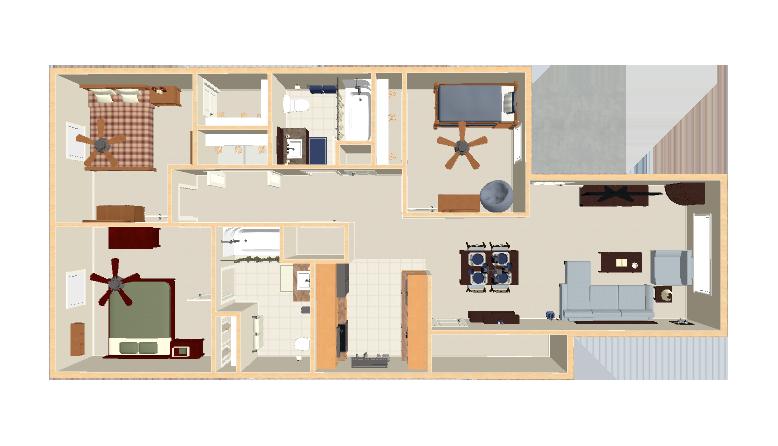 1,120 sq. ft. 30% floor plan