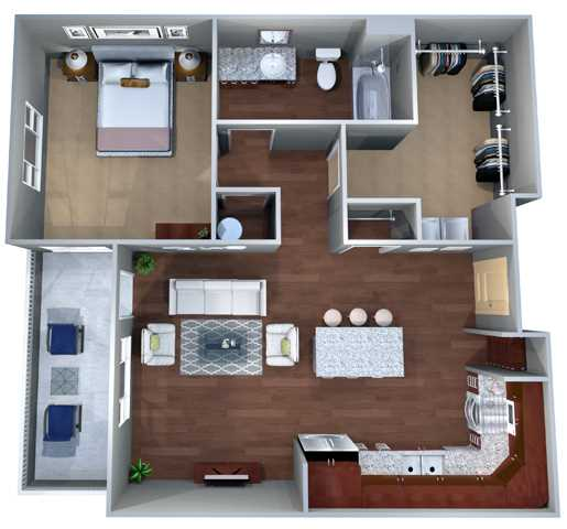 725 sq. ft. 1C floor plan