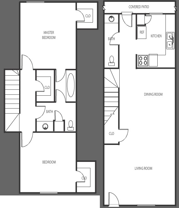 1,086 sq. ft. F floor plan