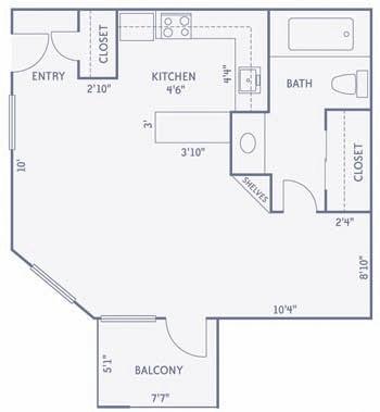 489 sq. ft. E2 floor plan