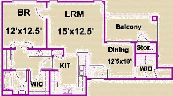 774 sq. ft. B/60 floor plan