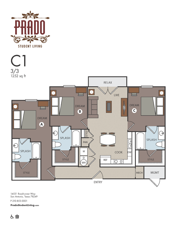 1,252 sq. ft. C1 floor plan