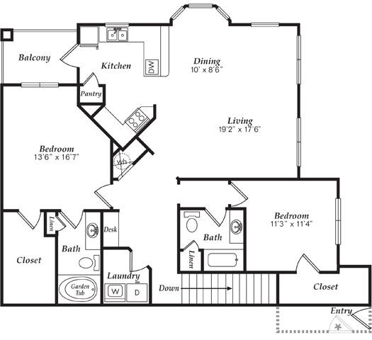 1,447 sq. ft. C1-D floor plan