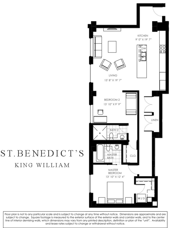 1,306 sq. ft. L floor plan