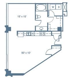 781 sq. ft. A1 floor plan