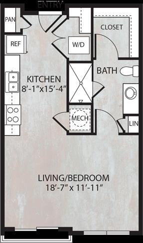 545 sq. ft. E1.1 floor plan