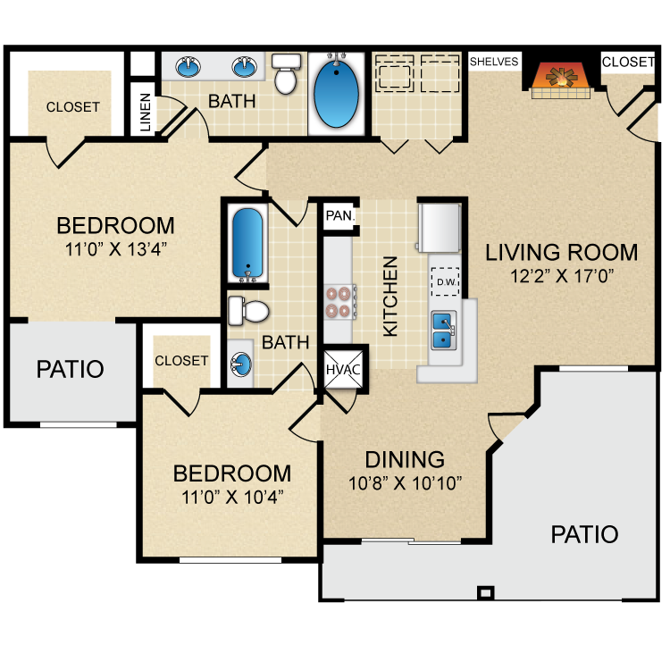 1,117 sq. ft. D3 floor plan
