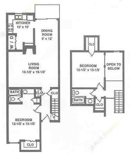1,219 sq. ft. B2 floor plan