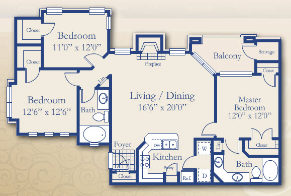 1,282 sq. ft. Redbud floor plan