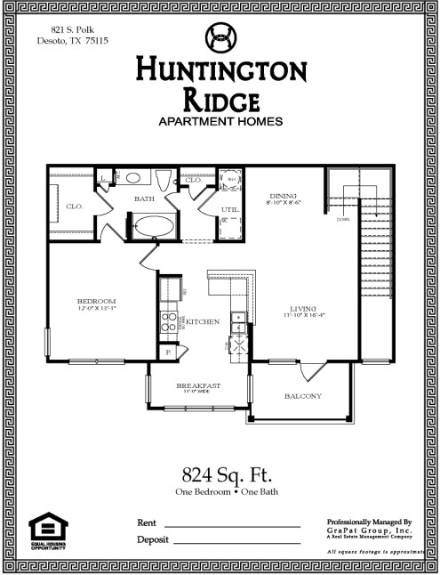 824 sq. ft. A2A floor plan