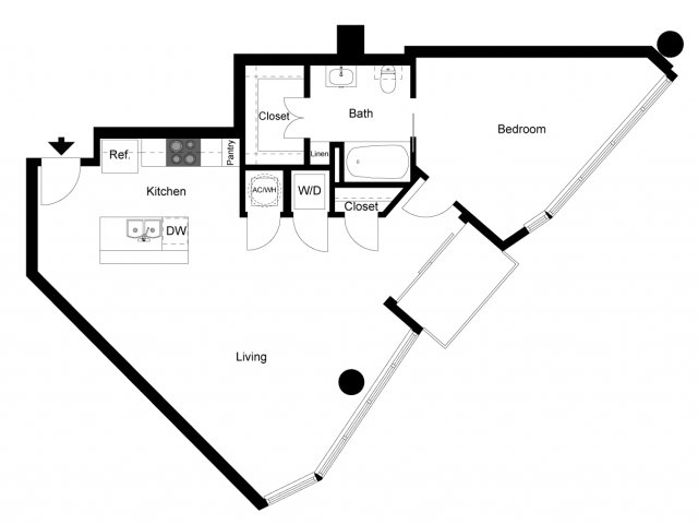 880 sq. ft. 1A floor plan