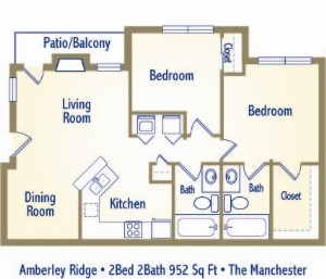 932 sq. ft. MANCHESTER floor plan