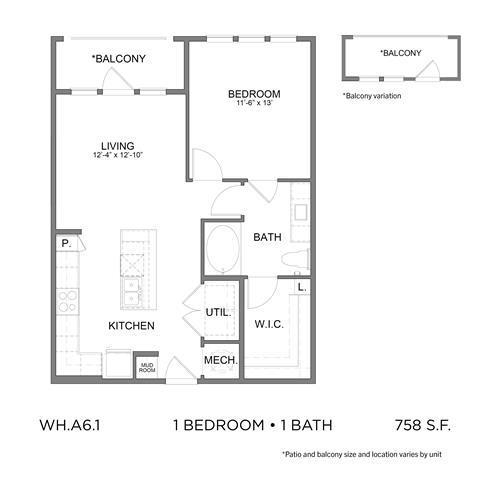 758 sq. ft. A6.1 floor plan