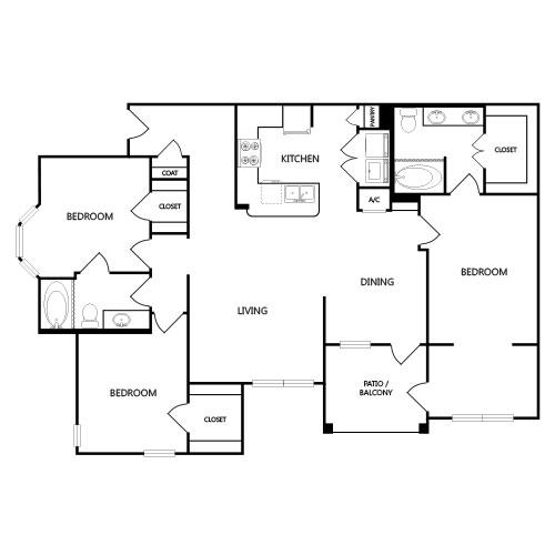 1,539 sq. ft. C1 floor plan