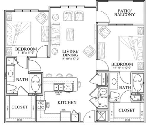 1,014 sq. ft. B1 floor plan
