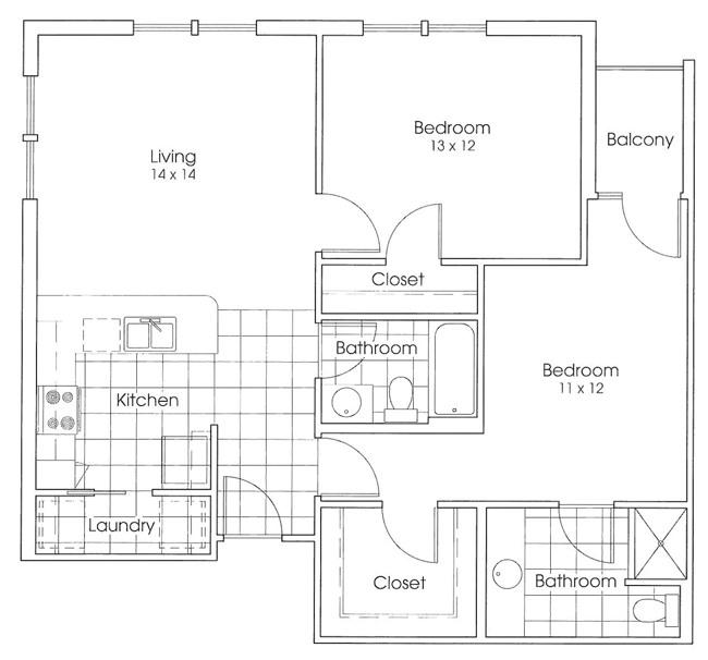 994 sq. ft. Sam Houston floor plan