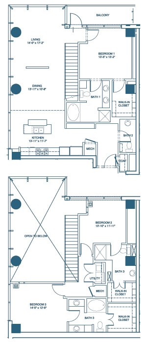 1,980 sq. ft. C5-Penthouse floor plan