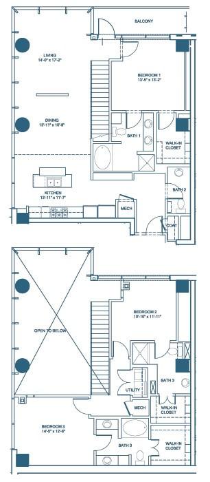 1,980 sq. ft. C5-Penthouse floor plan
