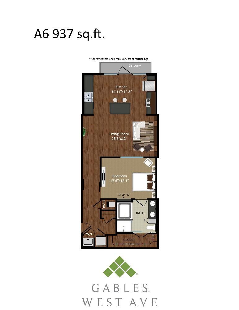 937 sq. ft. A6 floor plan